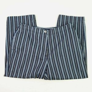 Lizsport Petite Blue Striped Capri Pants 8P Crop